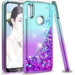 LeYi Case voor Huawei Y6 2019 / Honor 8A met Gehard Glas Screenprotector [2 stuks], Meisje 3D Glitter Vloeistof Gepersonaliseerde Clear Siliconengel Schokbestendige Telefoon Cover voor Honor 8A / Y6 2019 Turkoois Paars