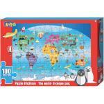 Luna kleurplaat en puzzel Wereld 49 cm karton 100 stuks