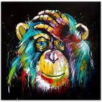 """Moderne schilderkunst HD afdrukken Kleurrijke Denken Aap Muur Canvas Poster Abstracte Dieren Art Canvas Schilderijen Home Decor Foto Woonkamer 90x90 cm / 35.4""""x35.4"""" frameloze"""