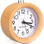 Navaris Analoge Houten Wekker met Snooze - Retro Klok met Wijzerplaat Wekkerlicht - Rustige Vintage Houten Tafelklok zonder te tikken - Natuurlijk Hout in Lichtbruin