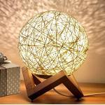 Nordic bureaulamp, rotan nachtkastlamp, creatief houten basis, maannachtlampje voor kinderkamer geschenk (geel, schakelaar)