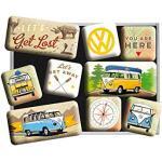 Nostalgic-Art Retro Koelkast Magneten, Bulli T1 – Let's Get Lost – Geschenkidee voor VW-bus, Magneetset voor magneetbord, Vintage design, 9 stuks