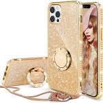 """OCYCLONE Hoesje voor iPhone 12 Pro 6,1"""", Glitter Diamant Telefoonhoesje met Ringhouder en Draagkoord voor Meisjes/Vrouwen, Bling Beschermhoes voor iPhone 12 Pro - Goud"""