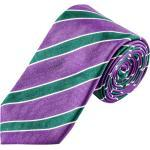 Plus size : Ascot, Tie with stripe pattern in a Aubergine Plussize: