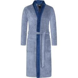 Plus size : Cawö, Dressing gown with shawl collar in a Blue Plussize: