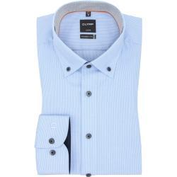 Plus size : Olymp, Level five body fit business shirt with button-down collar, extra tall in a Light BluePlussize: