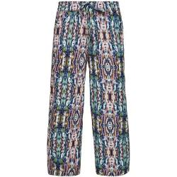 Q/S designed by cropped wide leg culotte met all over print roze/blauw