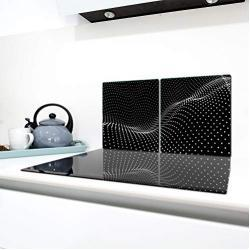 QTA   Fornuisafdekplaten 2 x 40 x 52 cm keramische veldafdekking bescherming kookplaat 80 x 52 2-delig glas spatbescherming afdekplaat glasplaat fornuis keramische plaat afdekking snijplank zwart