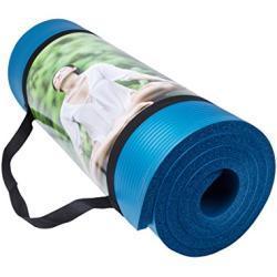 QUBABOBO Yogamat hoge dichtheid anti-scheur 10mm dikke antislip oefenmat voor pilates, fitness, training en stretch met draagriem