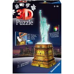 Ravensburger 125968 Statue Of Liberty Night Edition 3D Puzzel Gebouw, 108 Stukjes, Vanaf 10 Jaar, meerkleurig