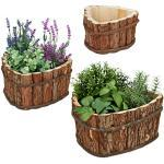 Relaxdays Houten bloembak, 3-delige set, tuindecoratie voor planten, balkon en vensterbank, bloempot, 3 maten, natuur