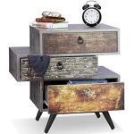 Relaxdays Vintage commode met 3 laden, betonlook bijzetkast, shabby lade m. handvat, HBT: 60x60x40 cm, grijs