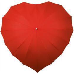 Rode paraplu in de vorm van een hartje