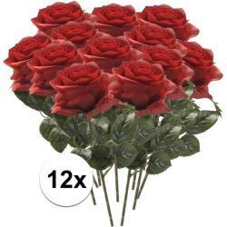 Rode roosjes kunst tak 45 cm 12 stuks -