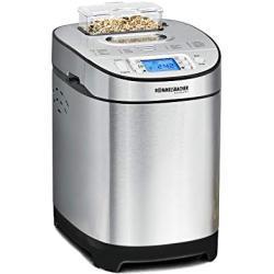 ROMMELSBACHER Broodbakmachine BA 550 - 13 programma's, automatisch ingrediëntenvak, 2 broodmaten (700 g/900 g), instelbare bruiningsgraad in 3 standen, ook voor glutenvrij brood, roestvrij staal/zwart