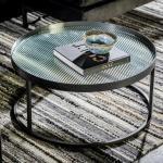 Ronde salontafel ribbelglas 70x70cm Dutchbone Boli