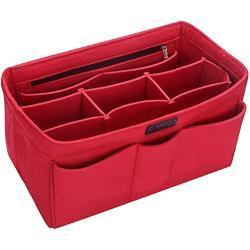 Ropch Handtas-organizer, tas-organizer met vakken, inzet, tas in tas, handtassenmap, beige, L, rood (rood) - 166111745963