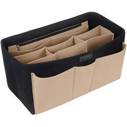 Ropch Tasorganizer voor dames, handtas, vilten tas, organizer, multifunctionele cosmetica-organizer, luiertas, organizer, zwart en beige, XL