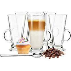 Sendez 6 latte macchiato glazen en 6 roestvrijstalen lepeltjes (gratis) koffieglazen theeglas