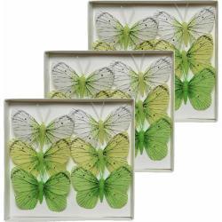 Set van 18 decoratie vlindertjes wit/groen 6 x 8 cm op ijzerdraad