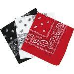 Set van 3 bandana's paisley dames en heren rood, wit, zwart 57 x 57 cm