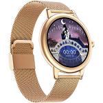 Slim horloge voor dames, fitness activity tracker horloge met hartslag, slaapmonitor, bloeddrukmeter, menstruatie, volledig touchscreen dames meisjes dunne roestvrijstalen mesh armband riem