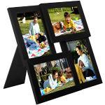 SONGMICS Fotolijst Collage voor 4 foto's, 10 x 15 cm, wandbevestiging Fotogalerij Display, met glasplaat, zwarte houtnerf RPF25BK