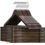 SONGMICS Kledinghanger hout, voor pakken, set van 20, jashanger massief hout, inkepingen in schouderpartij, anti-slip, jassen, shirts, broeken, 360° draaibare haak, donker walnoot CRW02V20