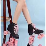 Speedschaatsen voor dames, volwassenen, 4 wielen, rolschaatsen, outdoor, retro, skateschoenen, quad, twee rijen voor meisjes (kleur: zwart. Maat: 40)