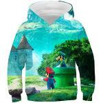 Super Mario trui, 3D capuchonsweater voor kinderen met cartoon anime, Super Mario bedrukt pullover jack, truien voor jongens en meisjes, eigentijdse streetwear 4-14T