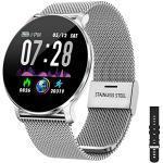 TagoBee TB11 IP68 waterdichte smartWatch HD touchscreen fitnesstracker ondersteuning bloeddruk, hartslag, slaapmonitor, stappenteller, compatibel met Android en iOS (Siver)