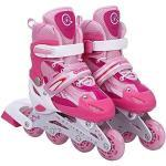 Tante Tina Kinderinlineskates in grootte verstelbaar met lichtgevende wielen - inline skates voor kinderen verstelbaar in 4 maten - roze - maat M (35-38)