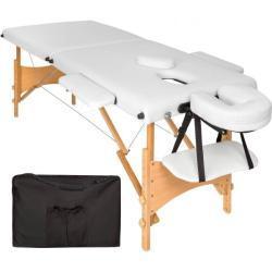 tectake 2 zone massagetafel Freddi 5cm matras + tas - wit