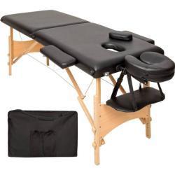 tectake 2 zone massagetafel Freddi 5cm matras + tas - zwart