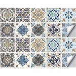 Tegelstickers, Zelfklevende Waterdichte Milieu Marokkaanse Tegelstickers DIY Tegel Transfers Turks Keramiek Victoriaanse Retro Stijl Stickers Voor Keuken Badkamer Huis Decors (15 x 15 cm,C-20PCS)