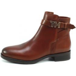 Tommy Hilfiger Leather Flat Bootie Bruin TOM06