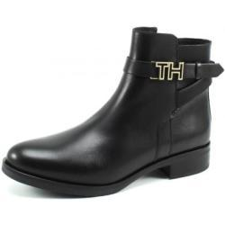 Tommy Hilfiger Leather Flat Bootie Zwart TOM07