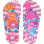 Trolls teenslippers roze gestreept voor meisjes