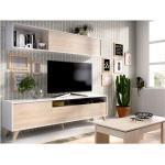 Tv-wand ALBORA - met opbergruimte - Kleur: wit & eiken