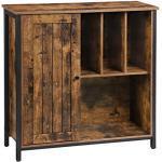 VASAGLE Dressoirkast, dossierkast, met vakken, verstelbare plank, 80 x 30 x 80,5 cm, industrieel ontwerp, vintage bruin-zwart LSC084B01