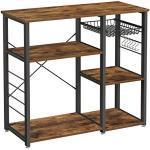 VASAGLE metalen keukenplank, stabiele staande plank, plaatsbesparende magnetronplank met stalen frame en draadmand, met 6 haken, industriële vormgeving, houtlook, vintage bruin-zwart KKS90X