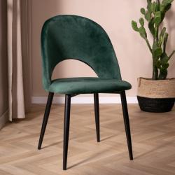 Velvet stoel groen met open rugleuning