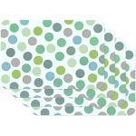 Venilia Tafelset placemat voor eetkamer kleurrijk groen vintage punten, set van 4 afwasbaar polypropyleen, voedselveilig, 45 x 30 cm, 4 stuks, 59057, kunststof, confetti mint, motieven, 4