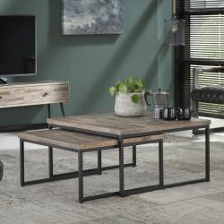 Vierkante salontafelset teakhout 75x75 75x75cm