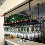 Wijnrek Wandrek Flessenrek Plafond wijnrek Hangend, hoogte verstelbaar Stemware Rack Industrial Vintage Staafteller Wine Glass Rack Metal Wijnfles Houder - Zwart (Size : 80×35cm(32×14inch))