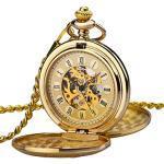 Zakhorloge heren ZEIGER analoog kwarts mechanisch handmechanisme zakhorloge met ketting heren horloge goud zwart W346 W347 (goud)