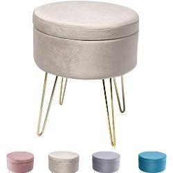 Zedelmaier ZD37545-3 Ronde kruk, make-uptafel, poef, beklede kruk, afneembare bekleding, metalen steun (beige), linnen, 35 × 45 cm (diameter x hoogte)