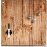 Zeller Present magneetbord Wood Memobord, van glas, houtmotief